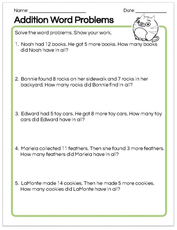 10 Amazing 1st Grade Math Word Problems Worksheets Samples Worksheet Hero