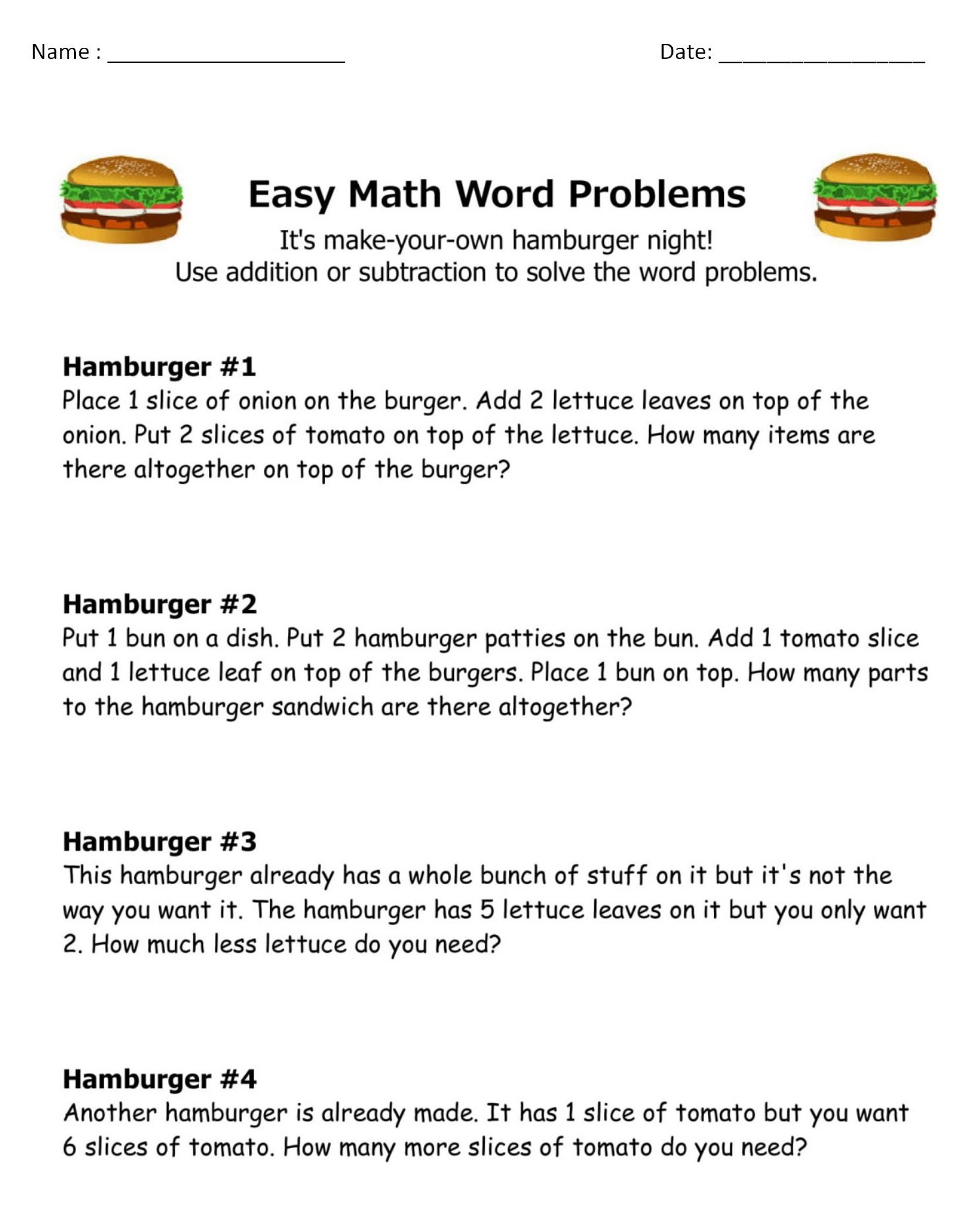 10 Amazing 1st Grade Math Word Problems Worksheets Samples ...