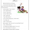 1st Grade Rhyming Game Reading Comprehension Worksheets