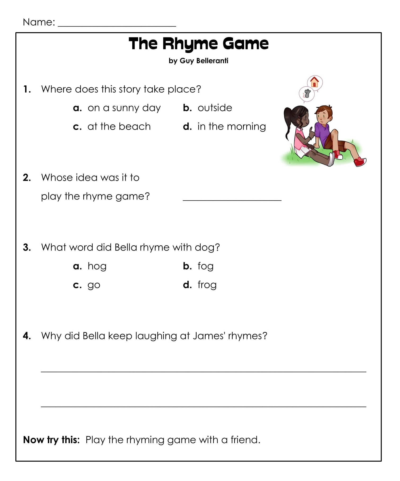 1st Grade Rhyming Game Reading Comprehension Worksheets 2