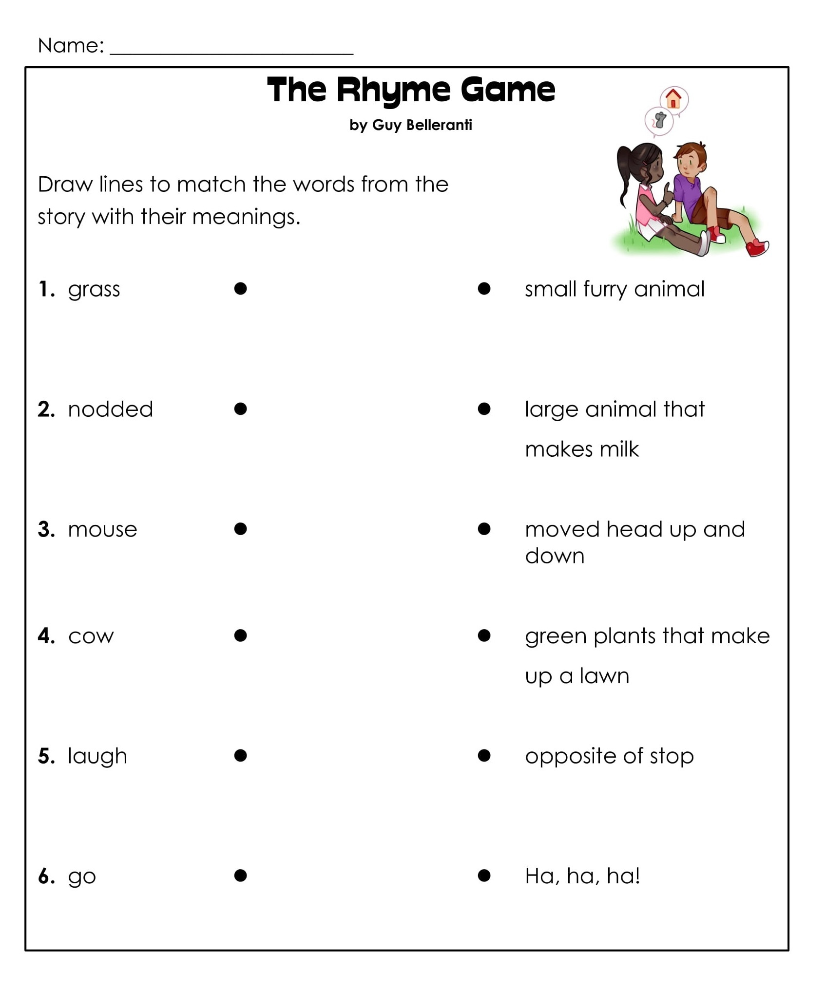 1st Grade Rhyming Game Reading Comprehension Worksheets 3