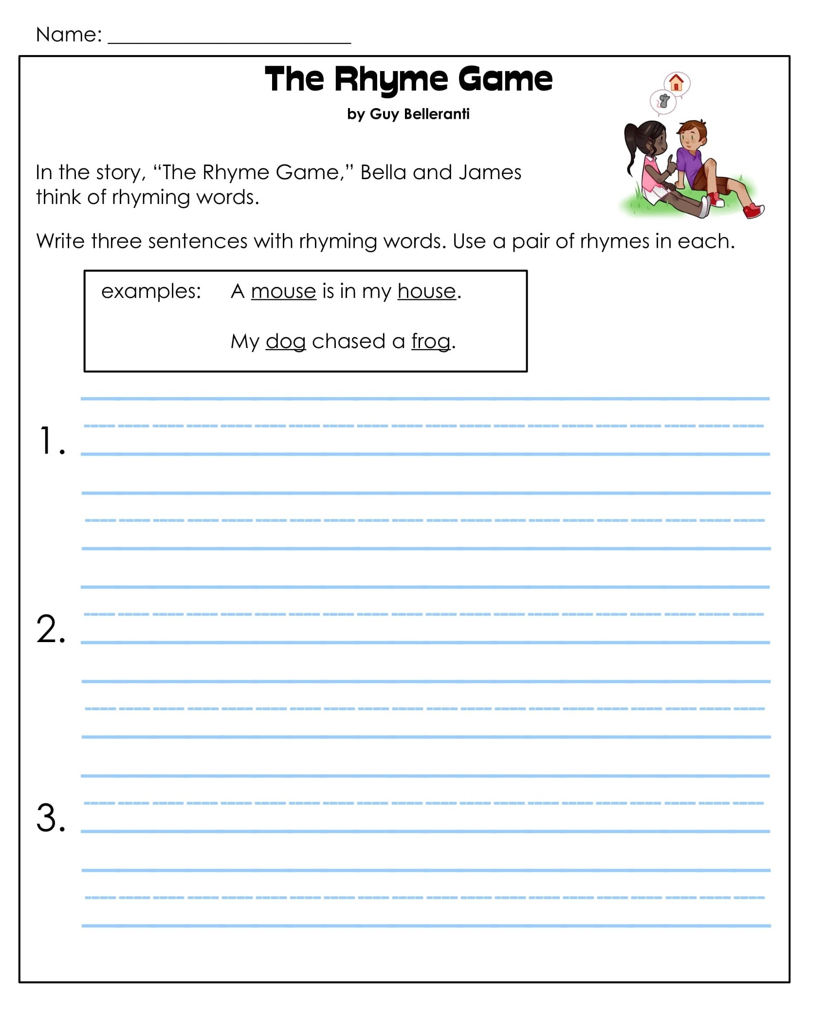 1st Grade Rhyming Game Reading Comprehension Worksheets 4