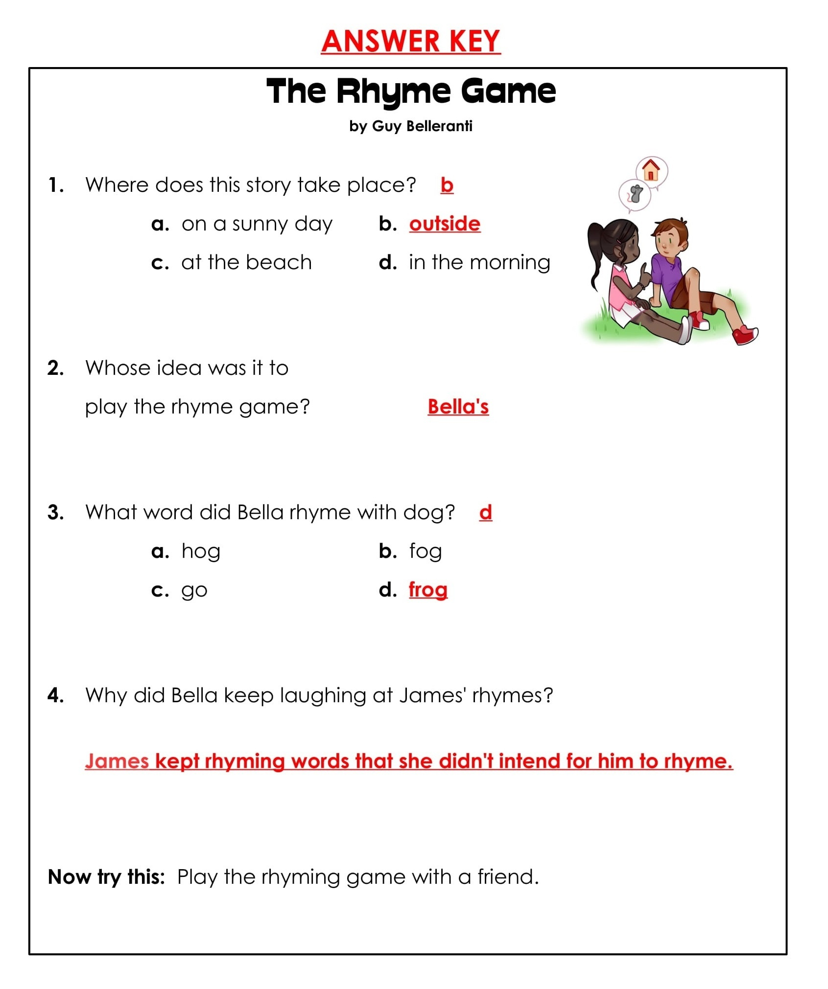 1st Grade Rhyming Game Reading Comprehension Worksheets 5