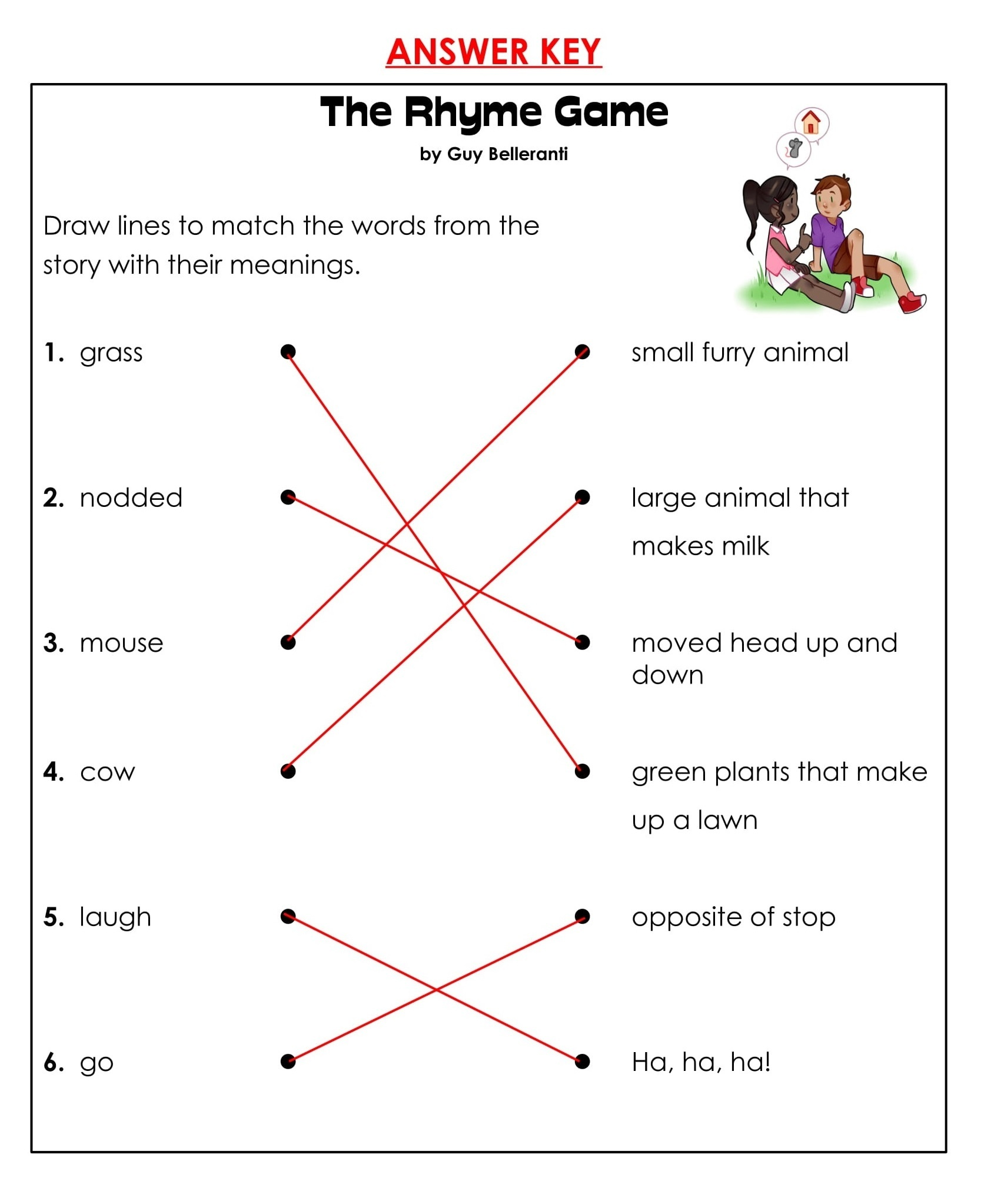1st Grade Rhyming Game Reading Comprehension Worksheets 6