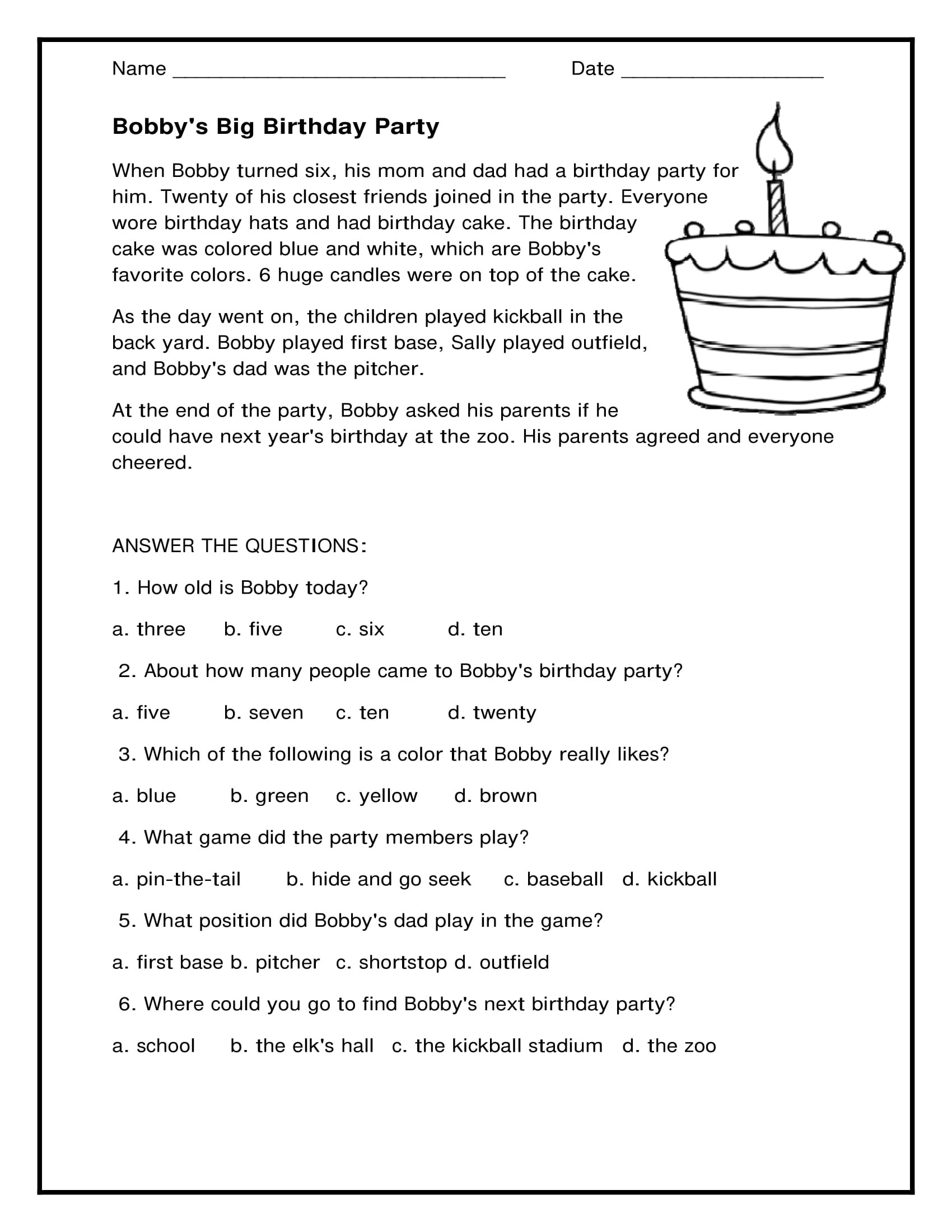 Birthday Party Reading Worksheets 1st Grade