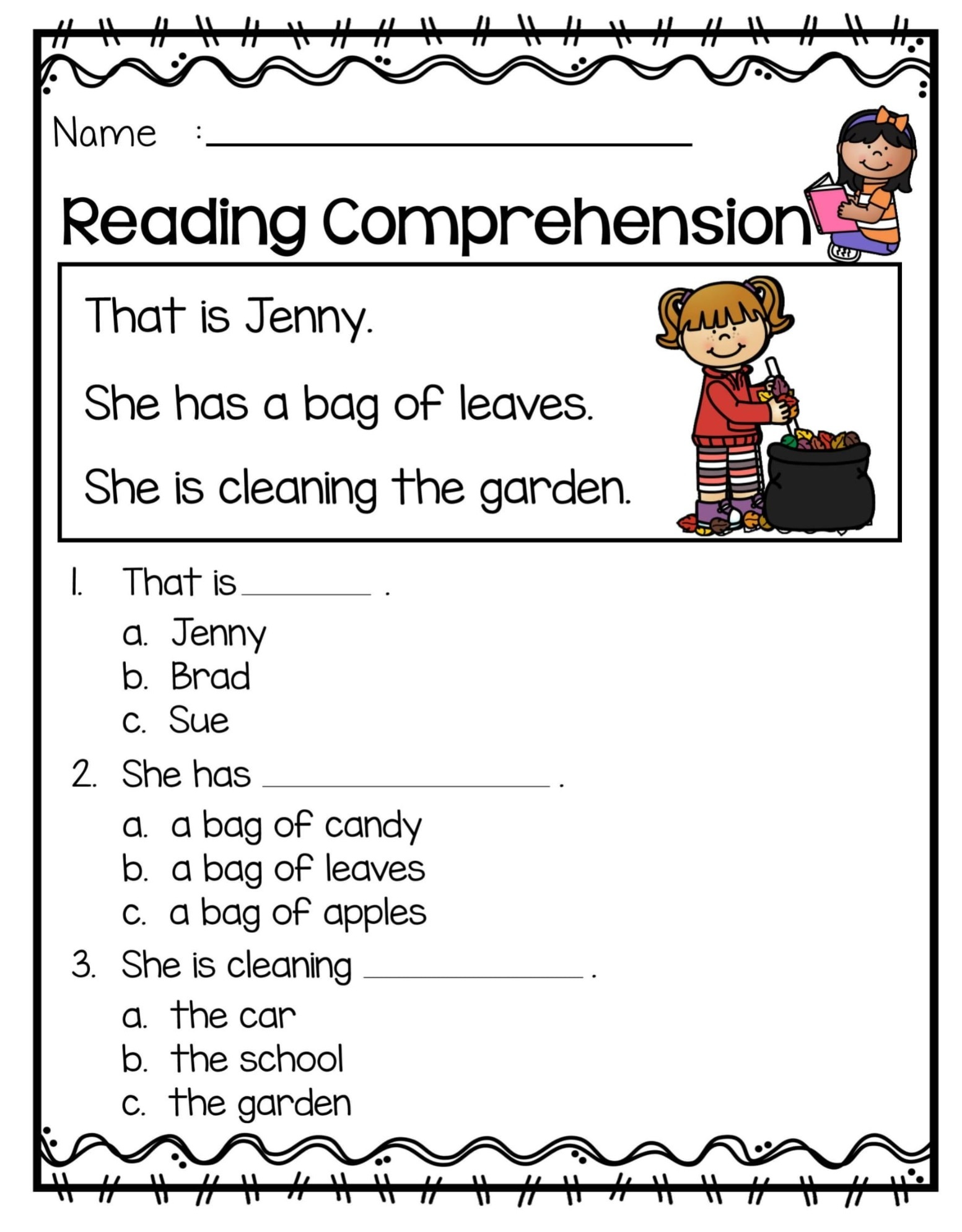 Free Reading Comprehension Worksheet for 1st Grade
