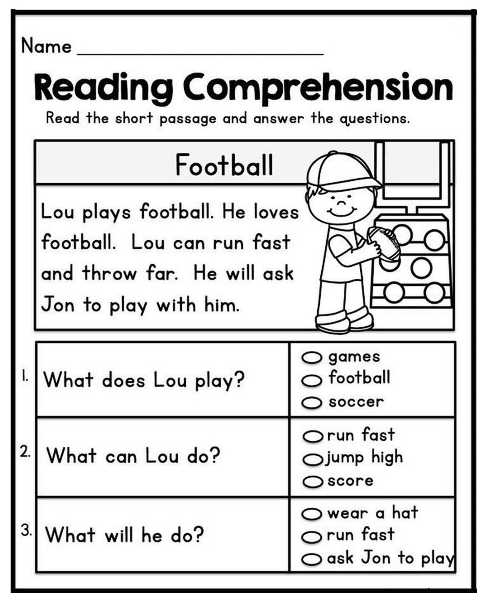 Reading Comprehension For Grade 1 With Questions
