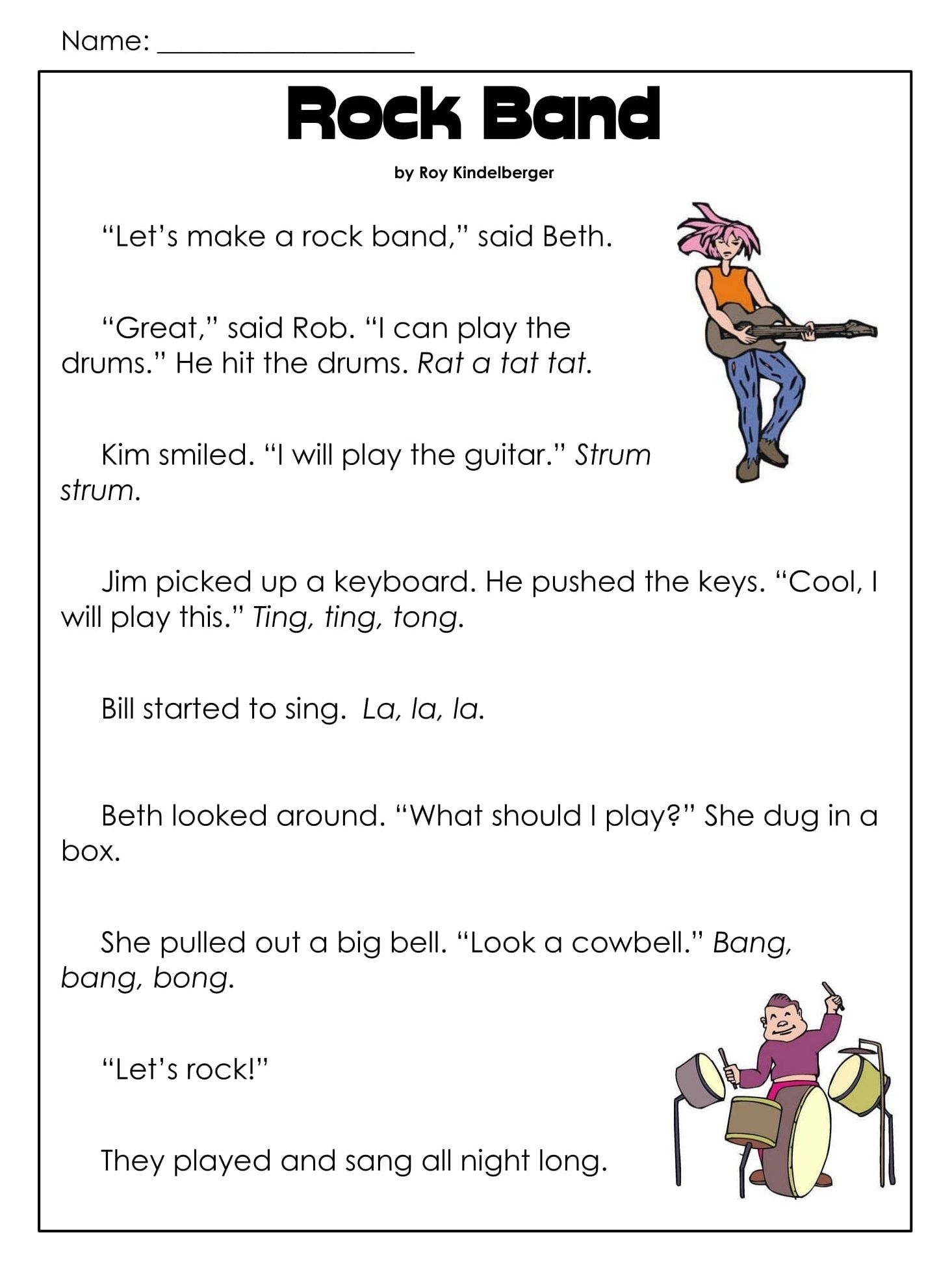 Rock Band Daily Reading Comprehension Grade 1 Pdf Worksheets