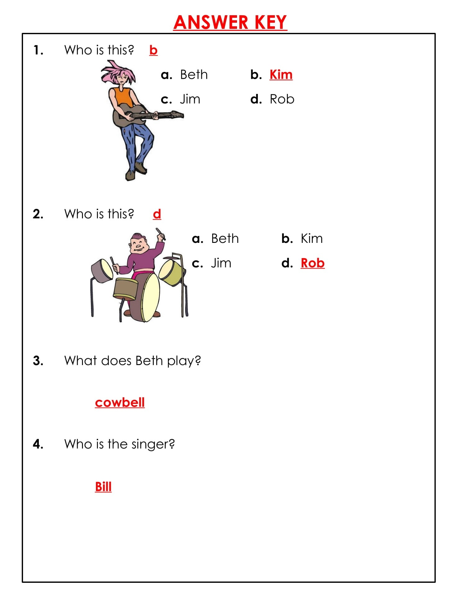 Rock Band Daily Reading Comprehension Grade 1 Pdf Worksheets 4