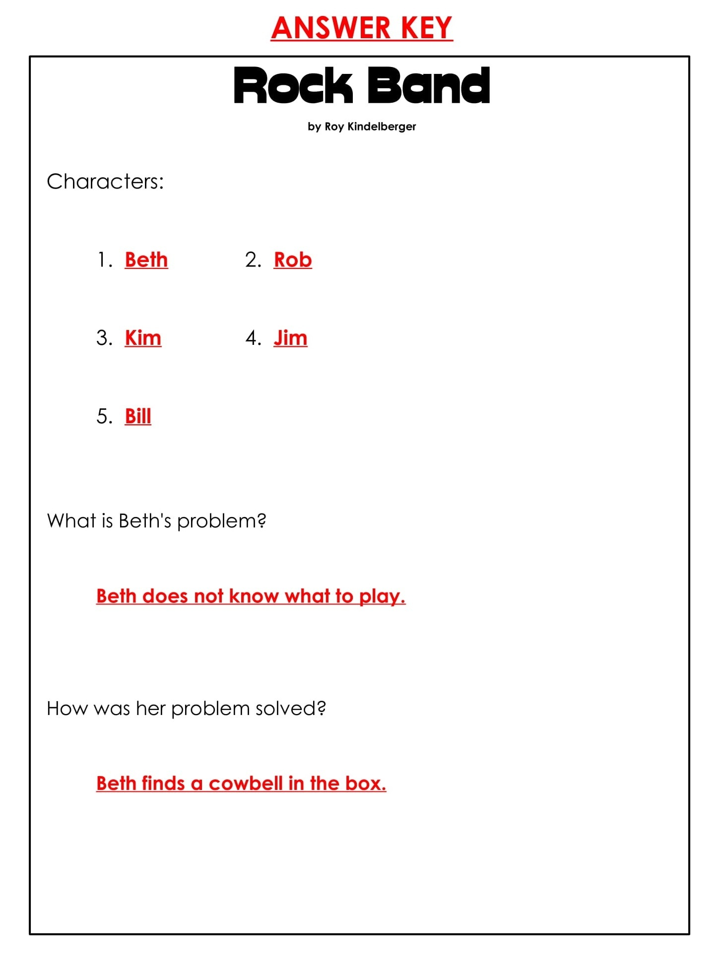 Rock Band Daily Reading Comprehension Grade 1 Pdf Worksheets Answer Key