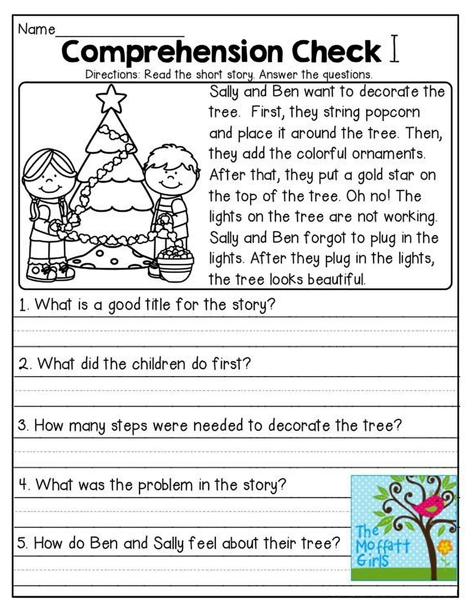 Simple 1st Grade Reading Comprehension Worksheets