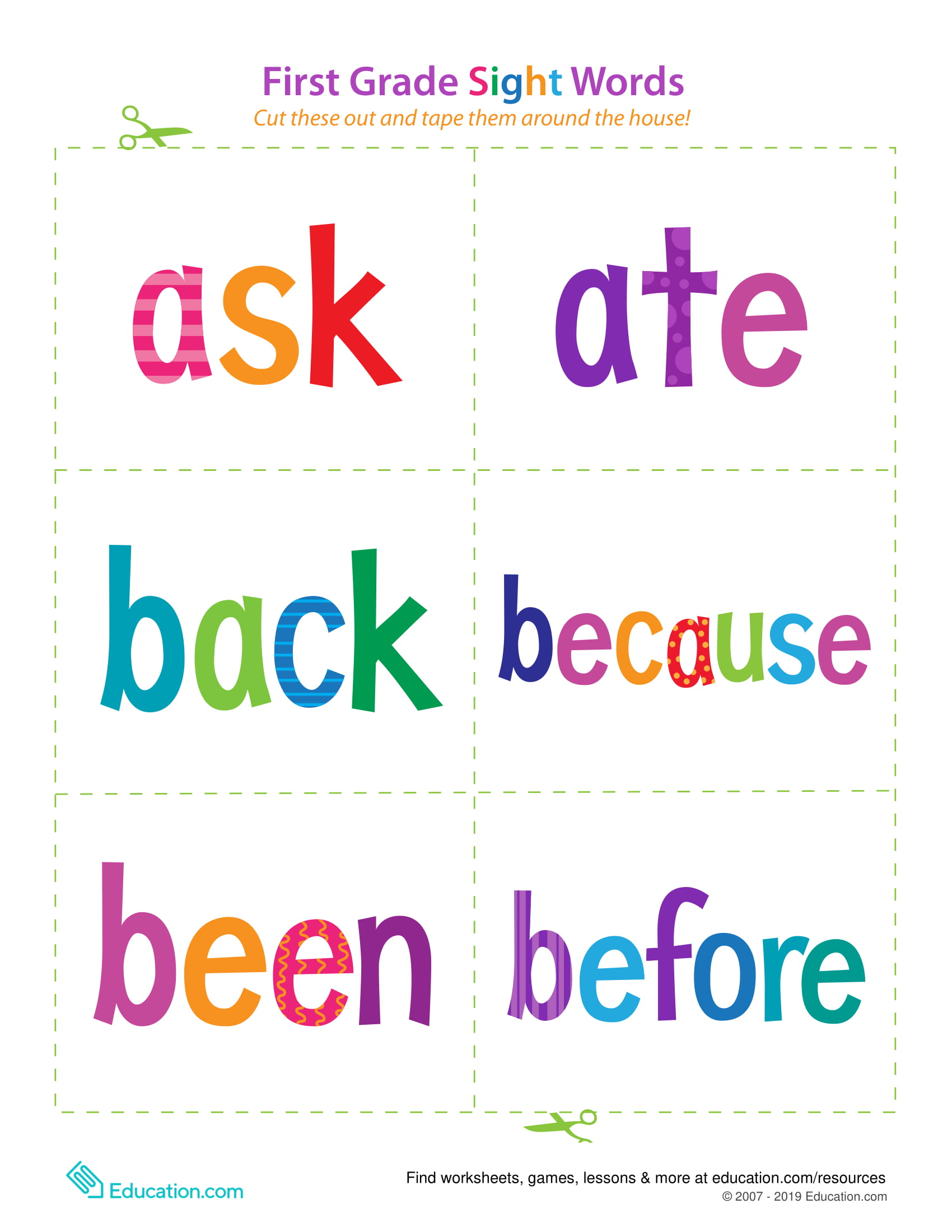 First Grade Sight Words Ask Before