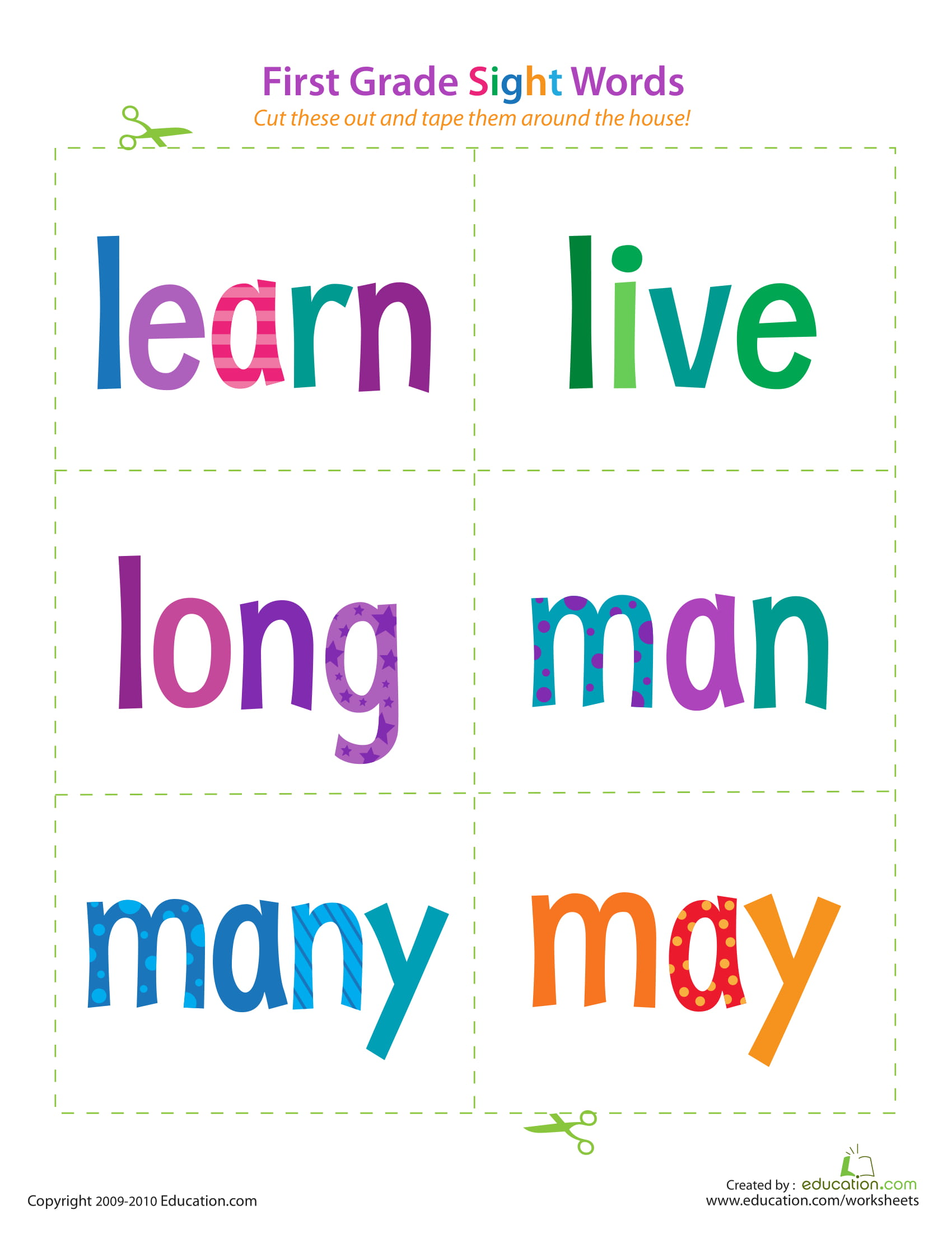 First Grade Sight Words Learn May