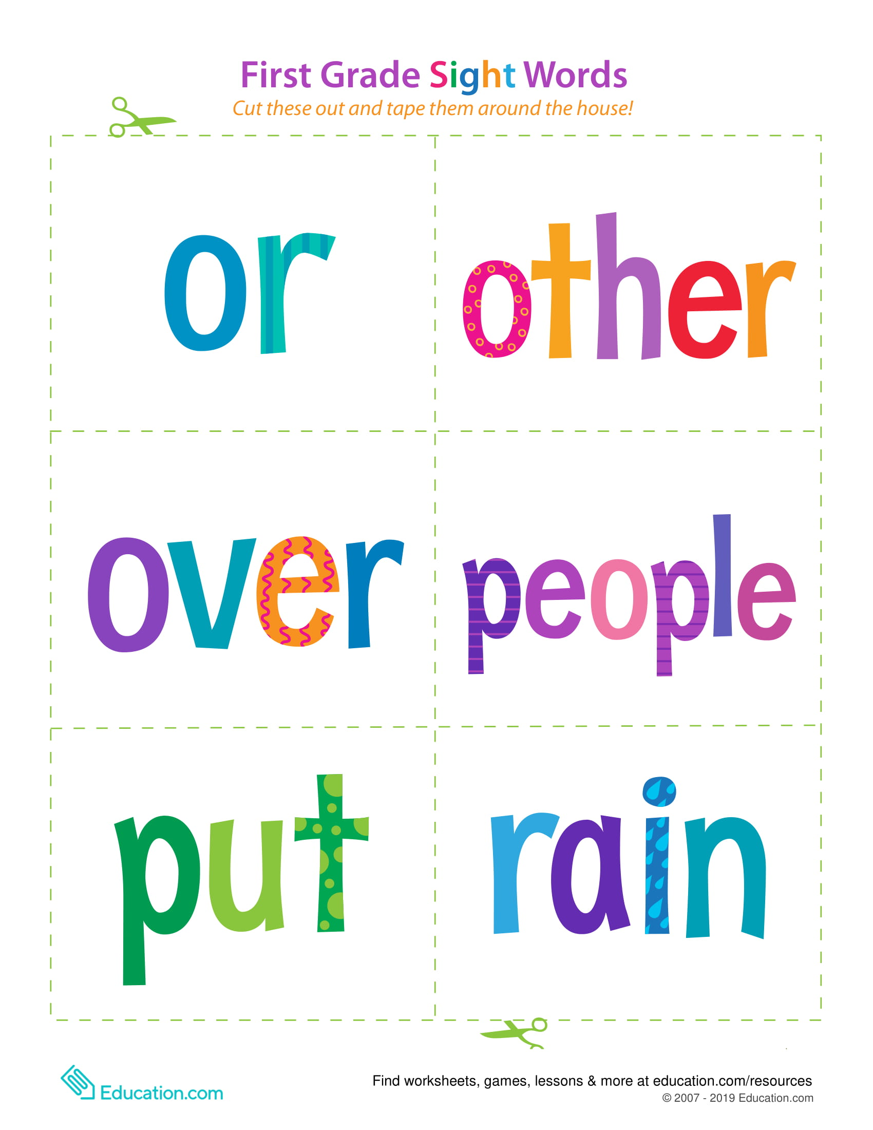 First Grade Sight Words Or Rain