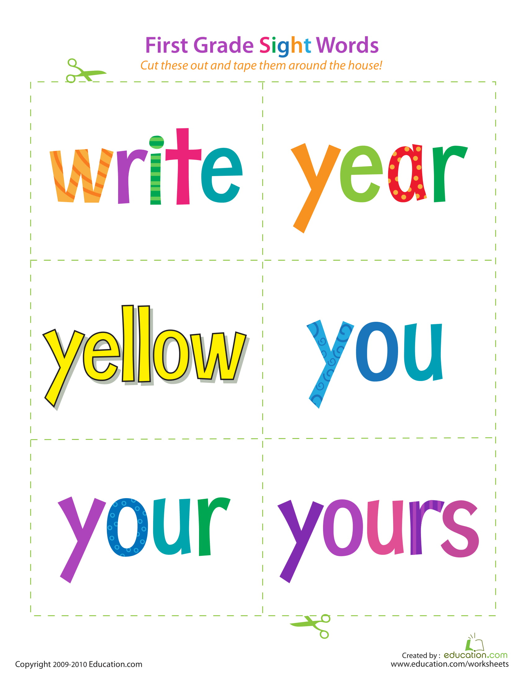 First Grade Sight Words Write Yours
