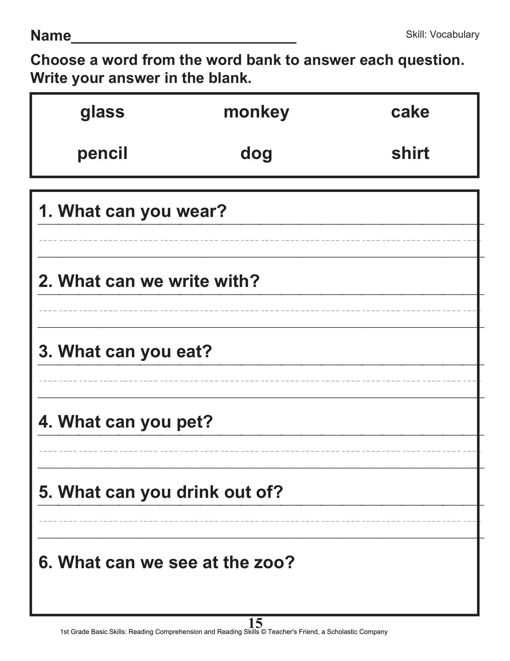 40 Scholastic 1st Grade Reading Comprehension Skills ...