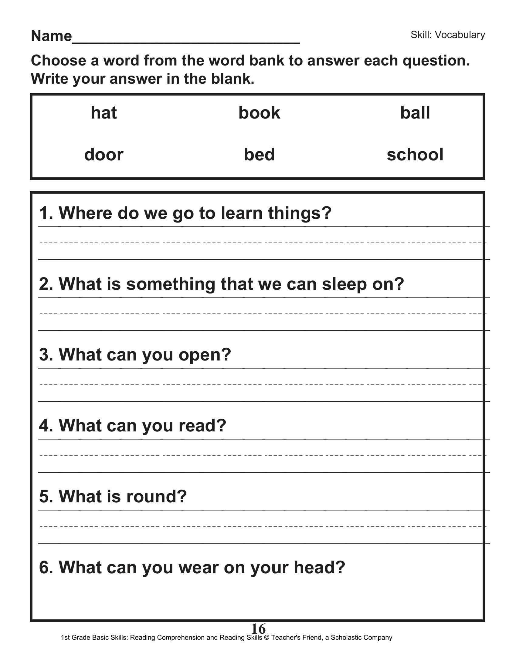 Scholastic 1st Grade Reading Comprehension Skills Worksheets 17