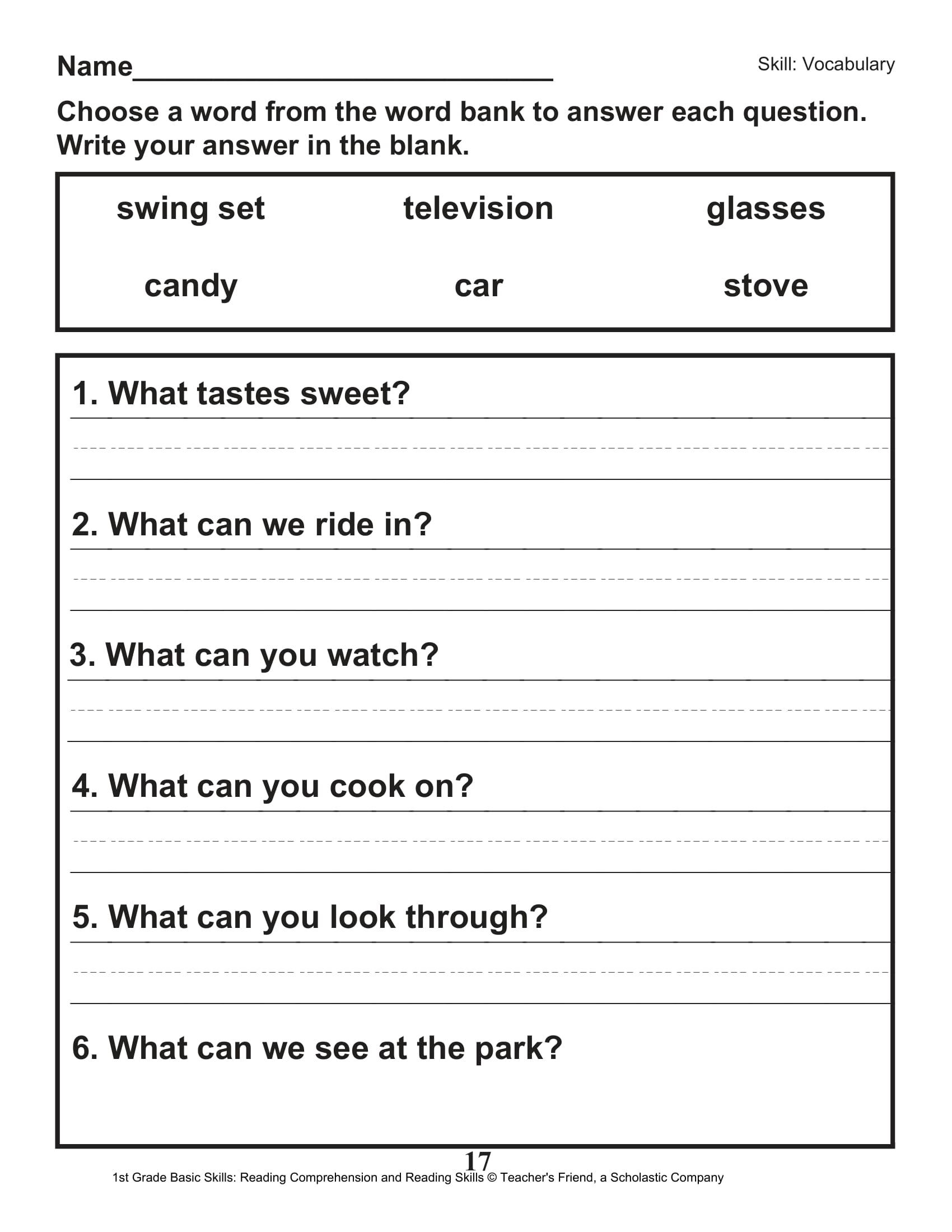 Scholastic 1st Grade Reading Comprehension Skills Worksheets 18