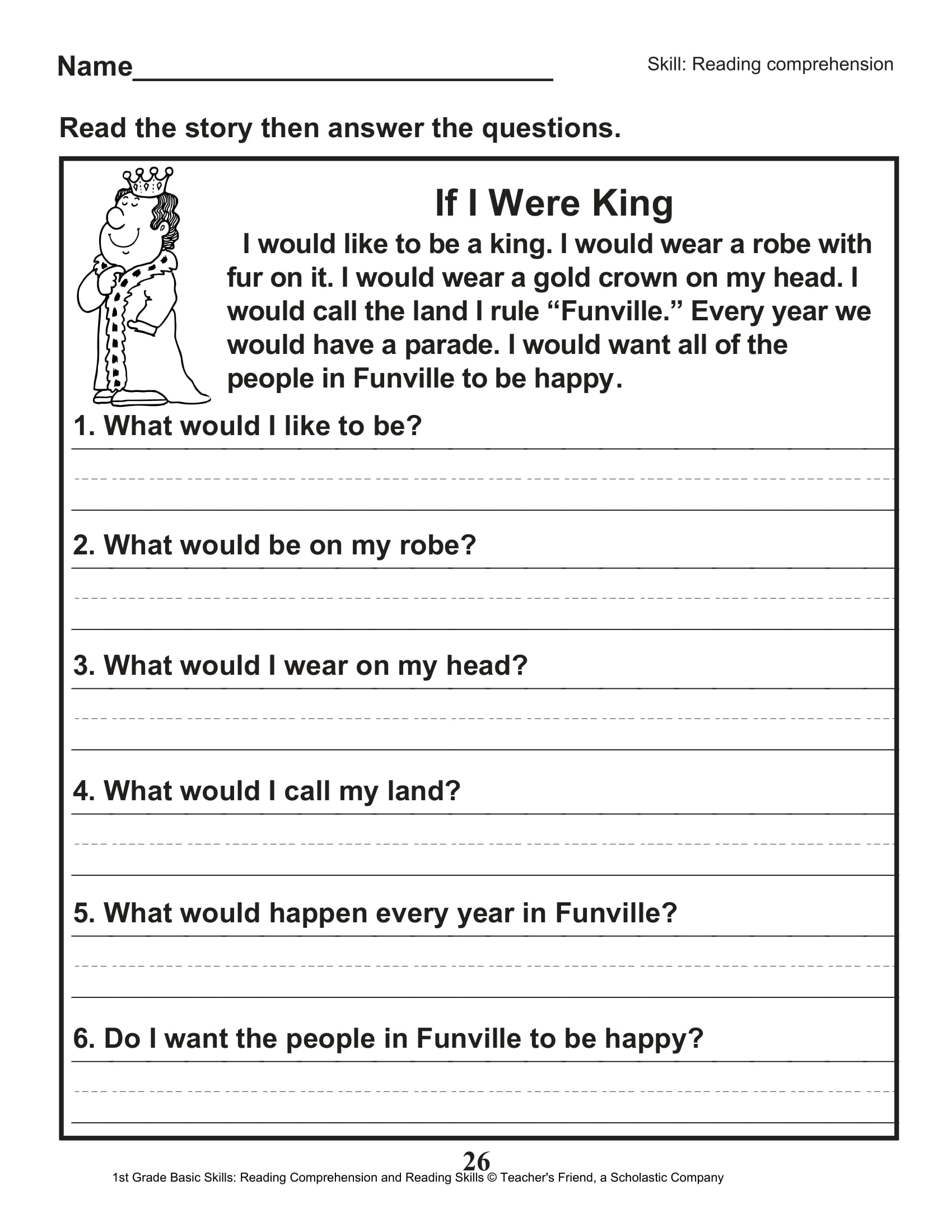 Scholastic 1st Grade Reading Comprehension Skills Worksheets 27