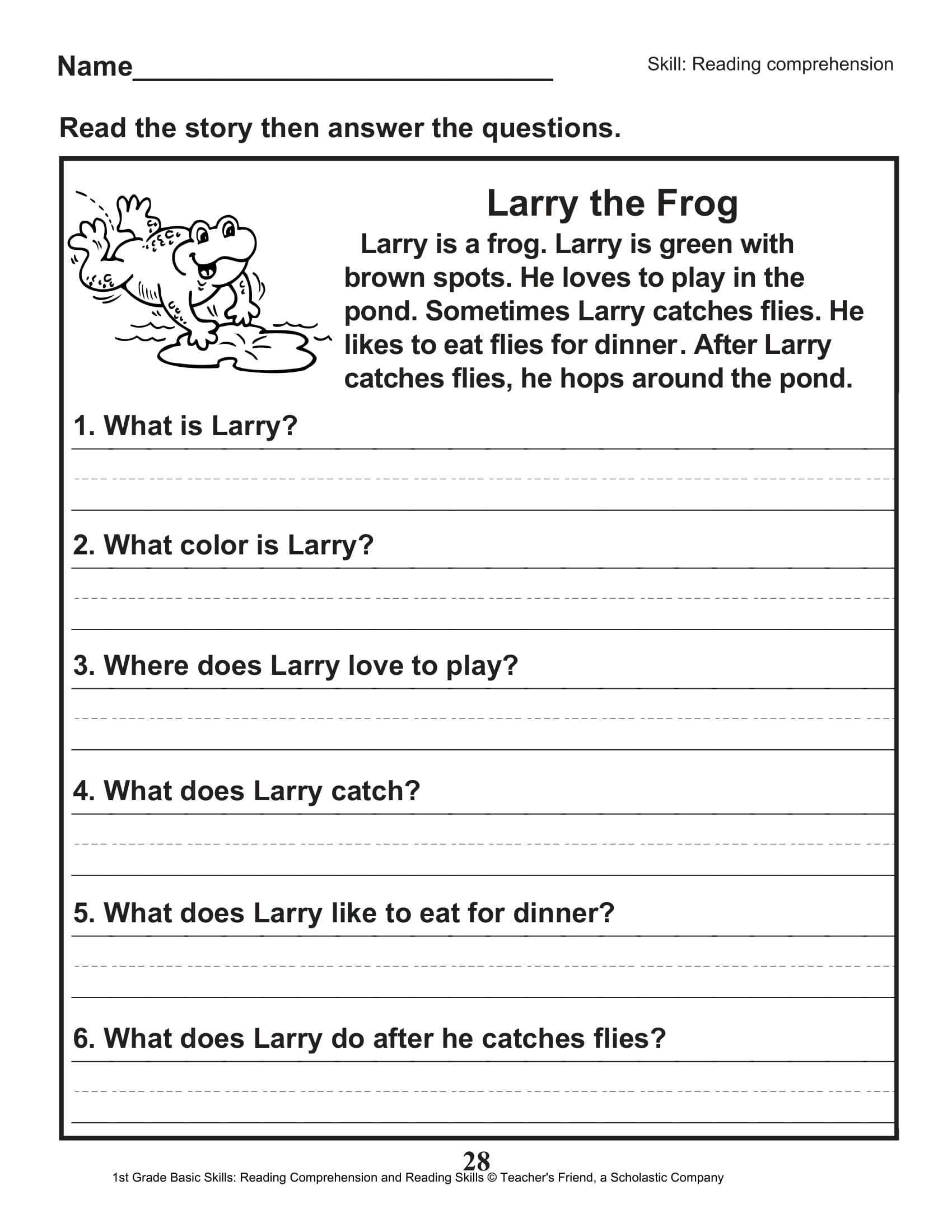 Scholastic 1st Grade Reading Comprehension Skills Worksheets 29