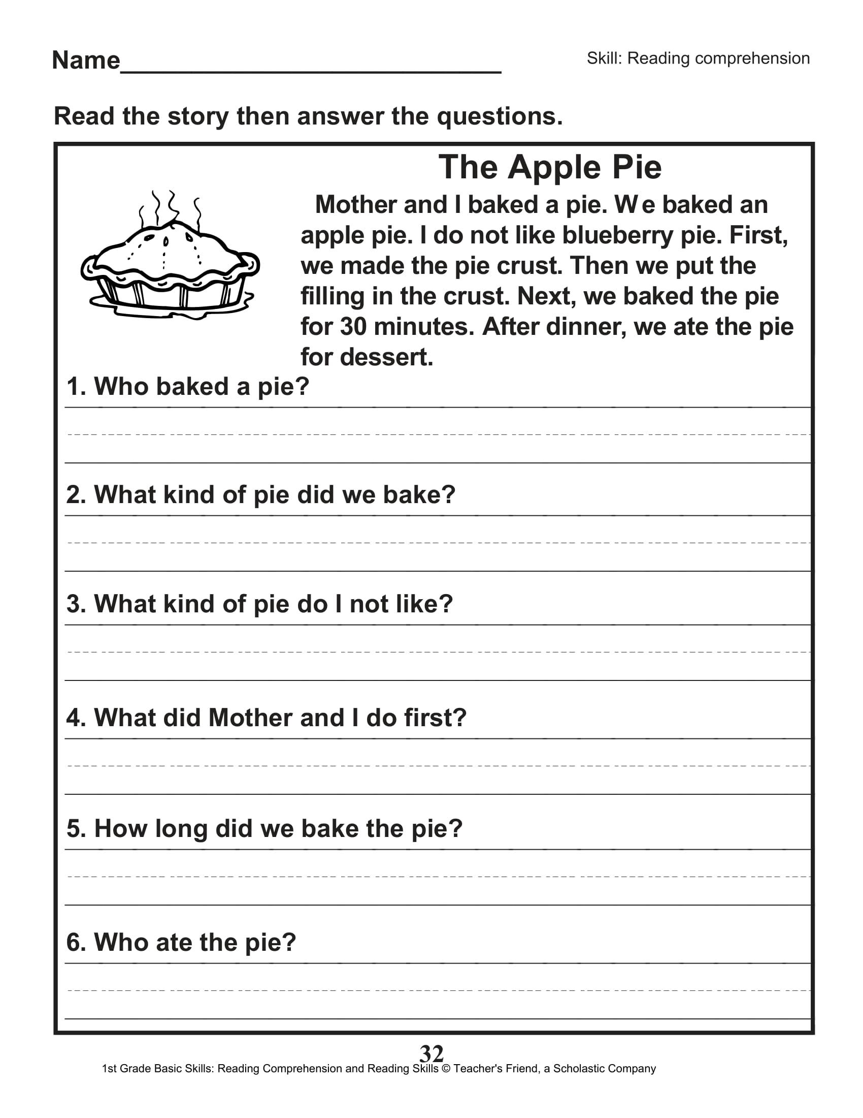 Scholastic 1st Grade Reading Comprehension Skills Worksheets 33