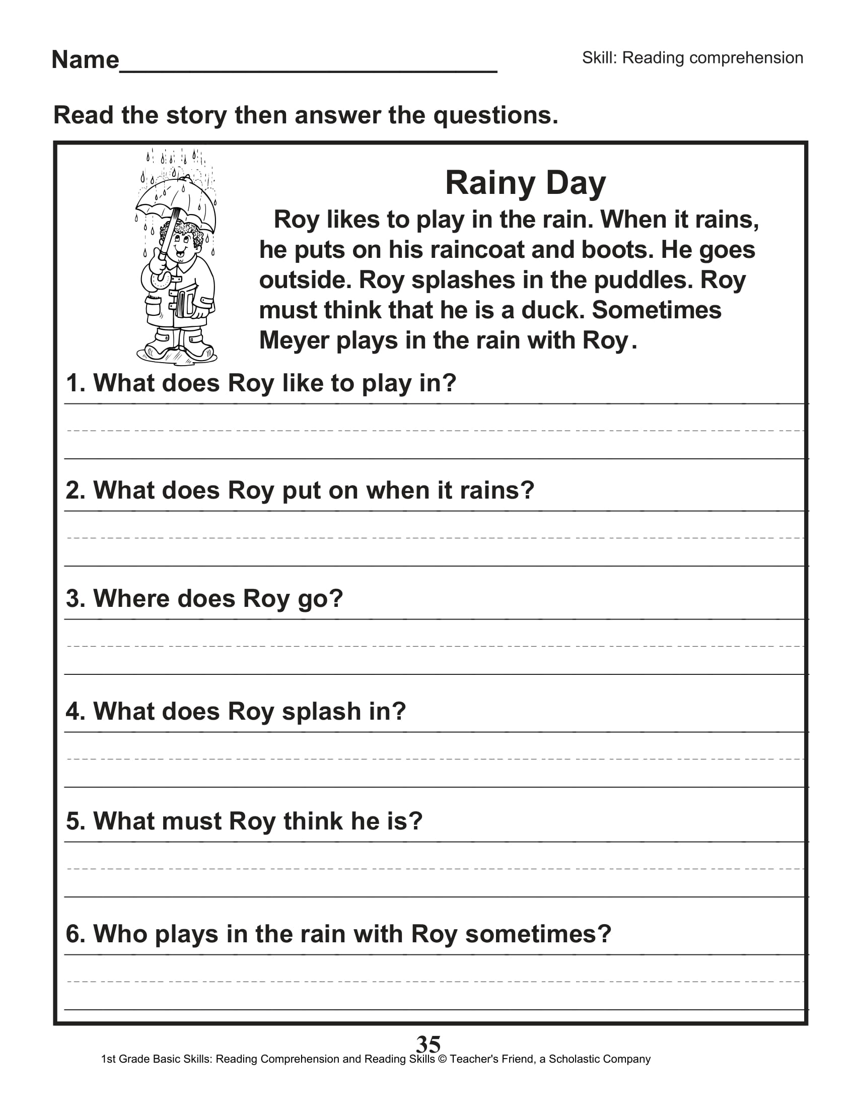 Scholastic 1st Grade Reading Comprehension Skills Worksheets 36