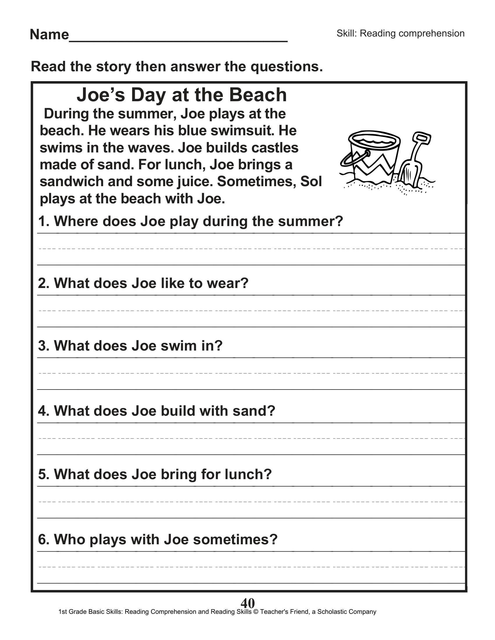 Scholastic 1st Grade Reading Comprehension Skills Worksheets 41