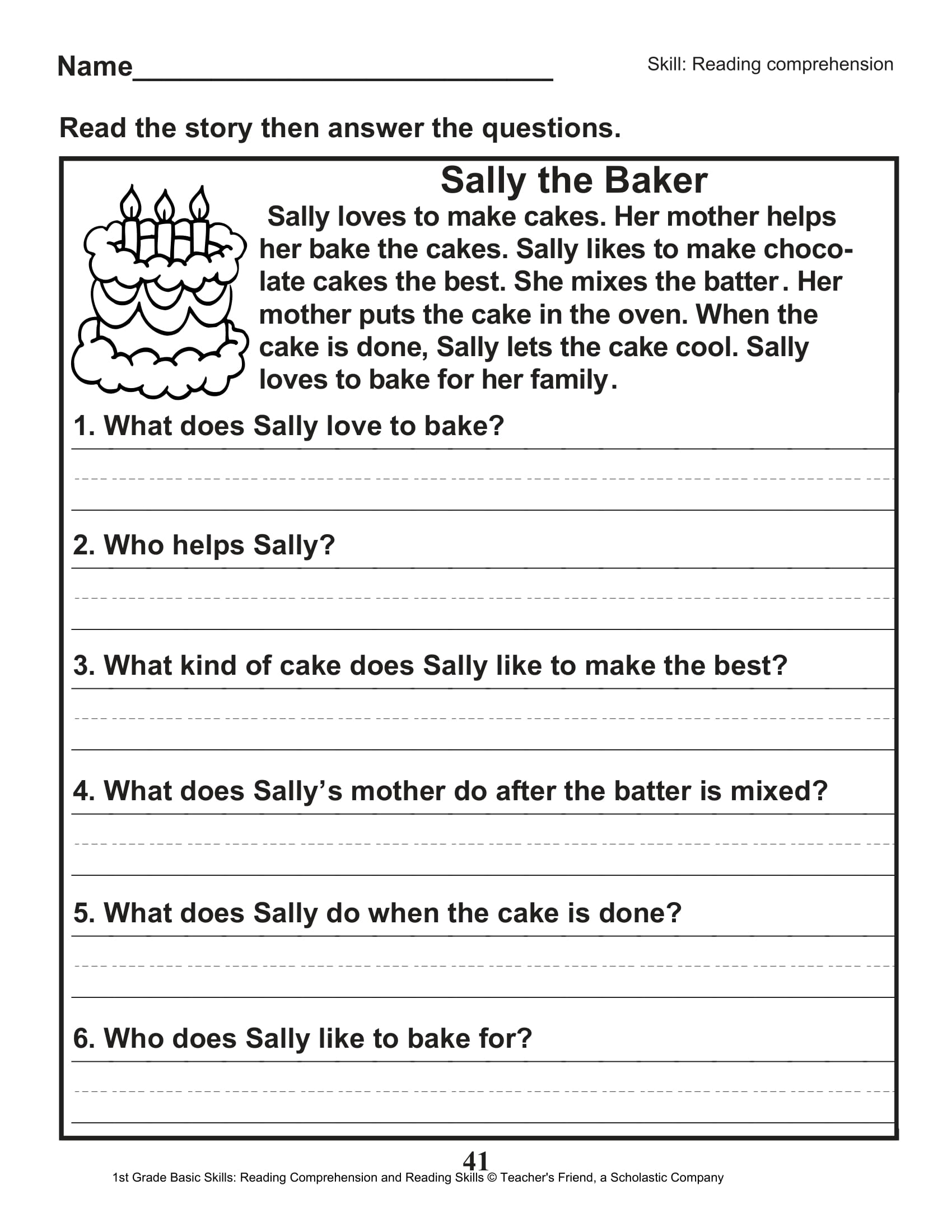 Scholastic 1st Grade Reading Comprehension Skills Worksheets 42