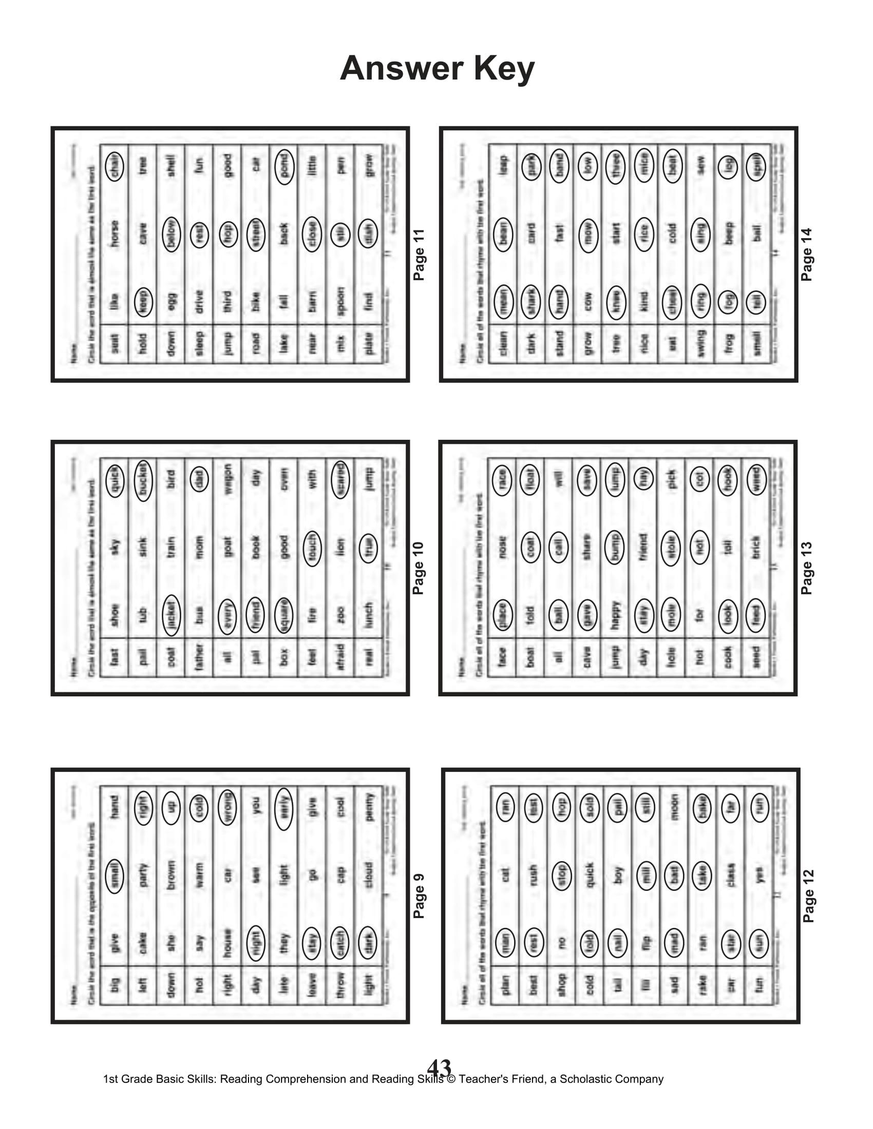 Scholastic 1st Grade Reading Comprehension Skills Worksheets 44