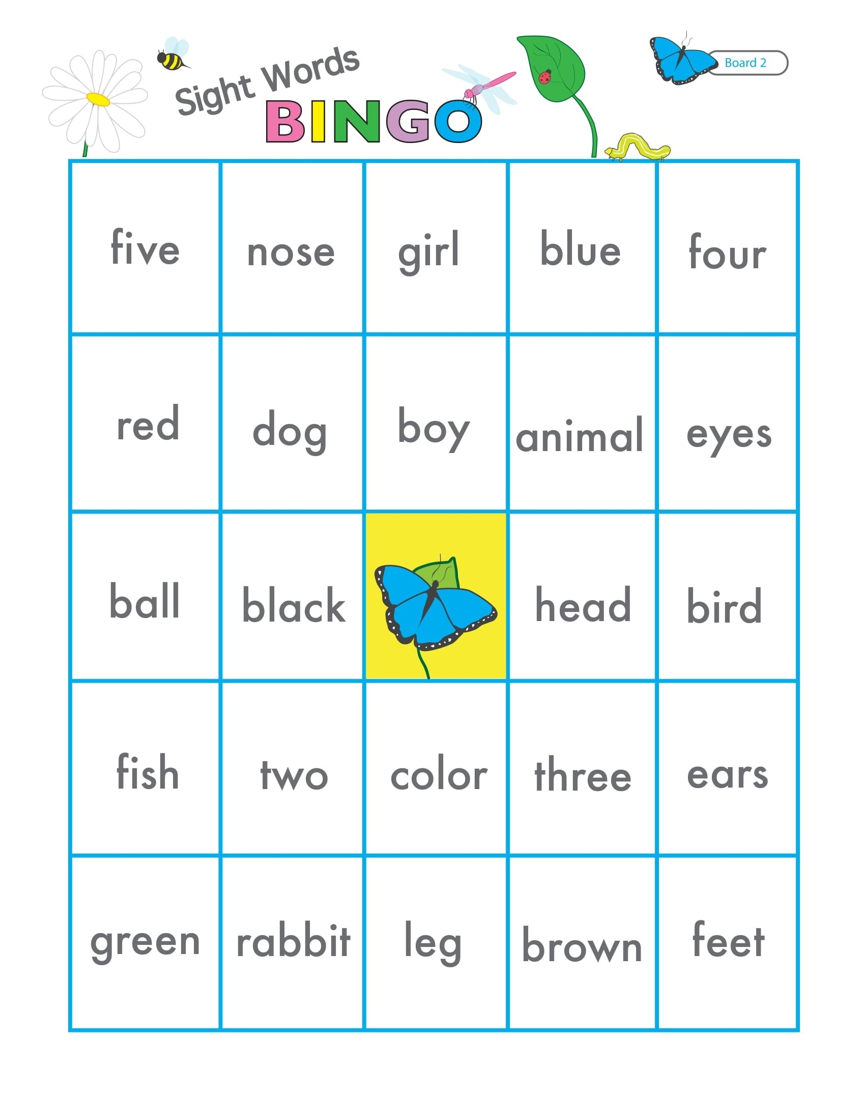 Sight Words Game Bingo 2