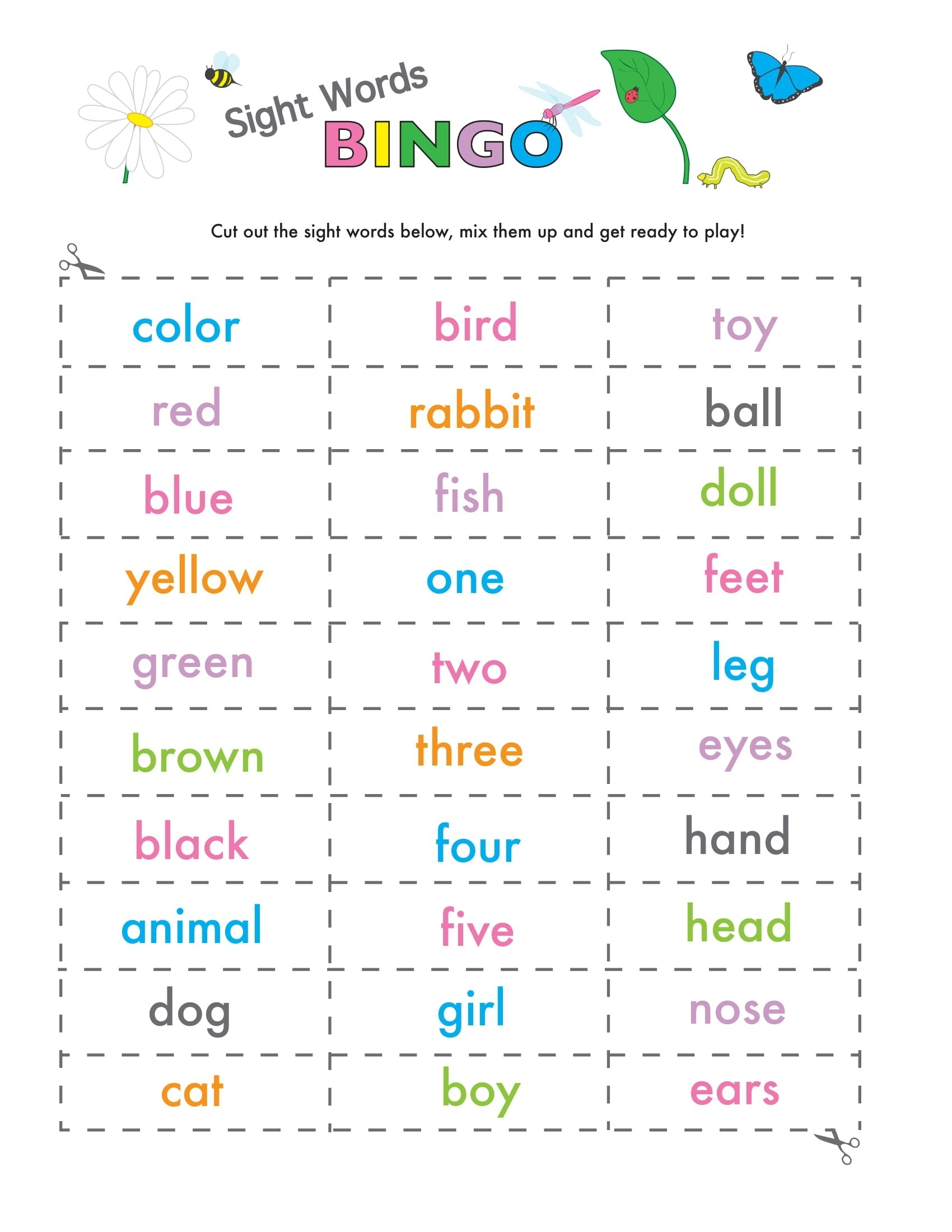 Sight Words Game Bingo 4