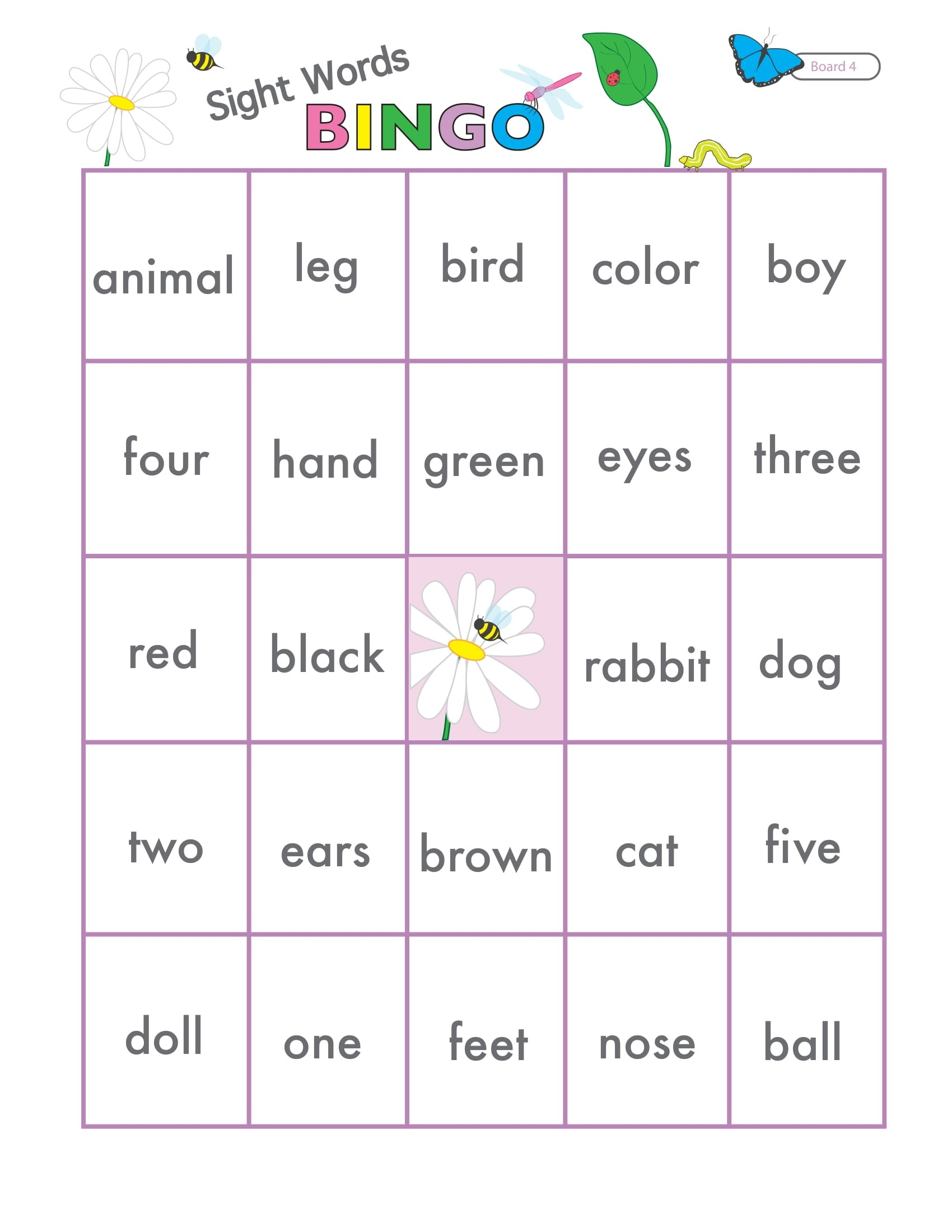 Sight Words Game Bingo 5