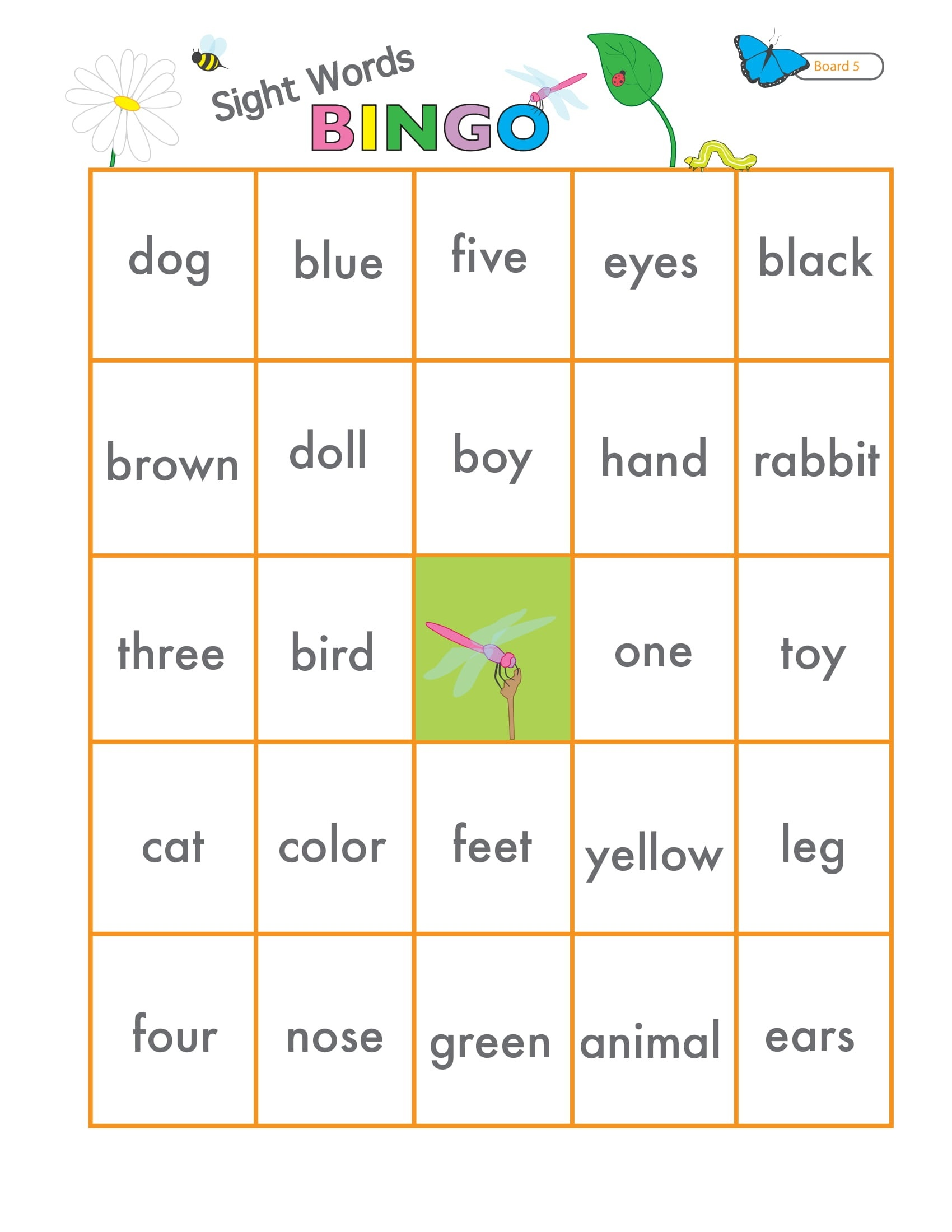 Sight Words Game Bingo 6