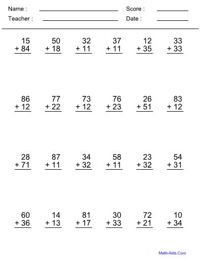 Addend  Digit Addition Worksheet
