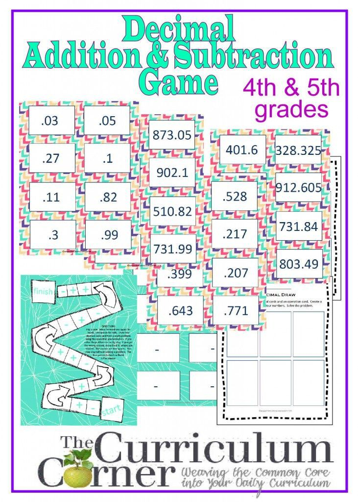 Adding And Subtracting Decimals Game For Th   Th Grades Free