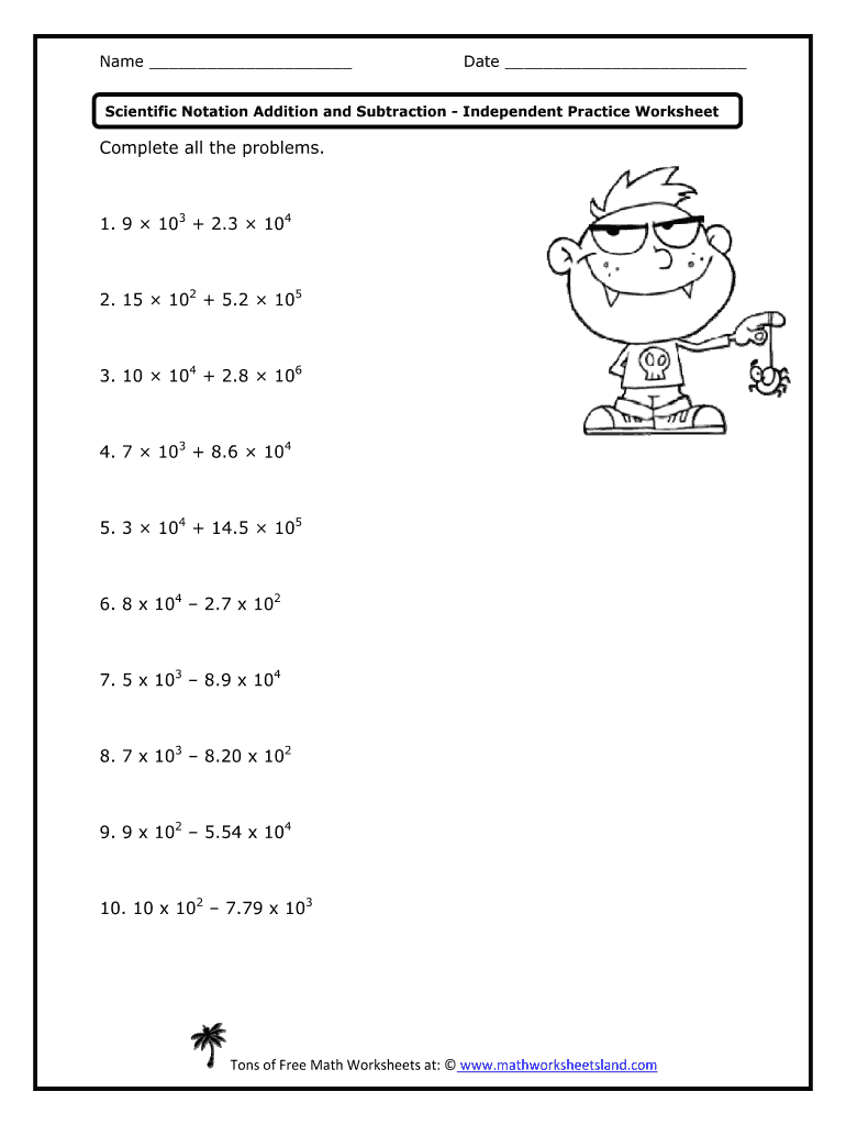 Adding And Subtracting Scientific Notation Worksheet