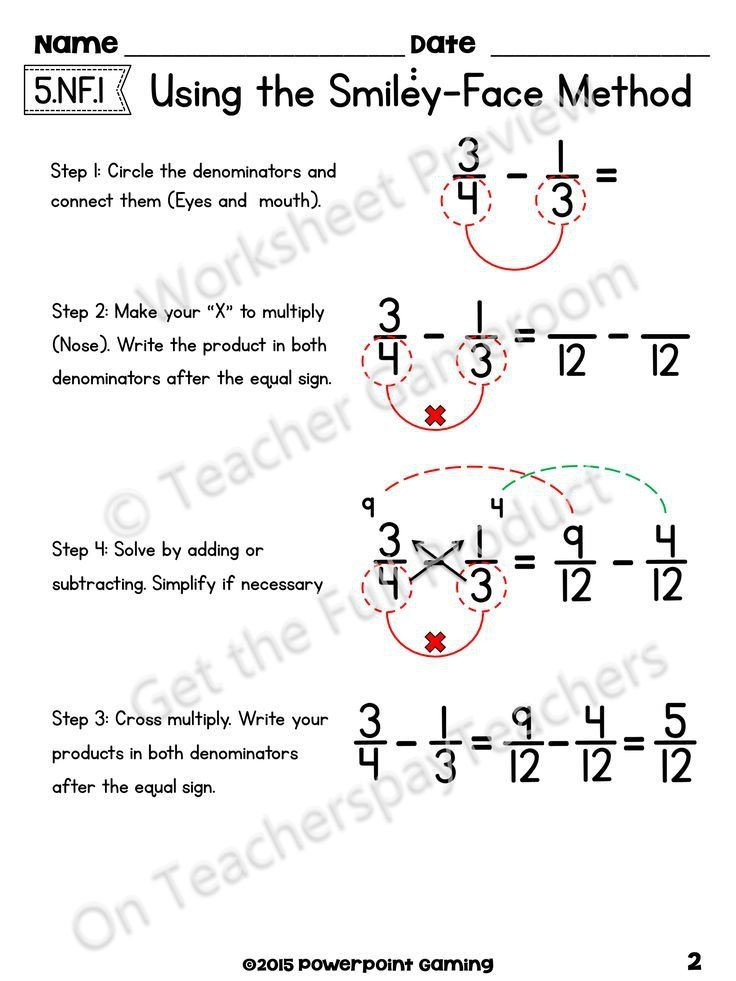 Adding Subtract Fractions With Unlike Denominators Using The