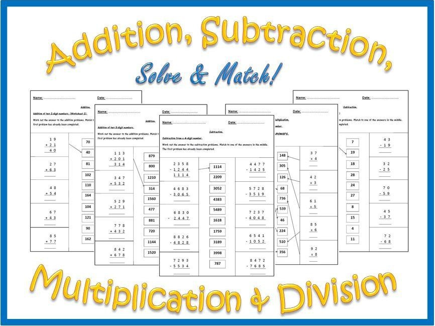 Addition  Subtraction  Multiplication And Division Worksheets
