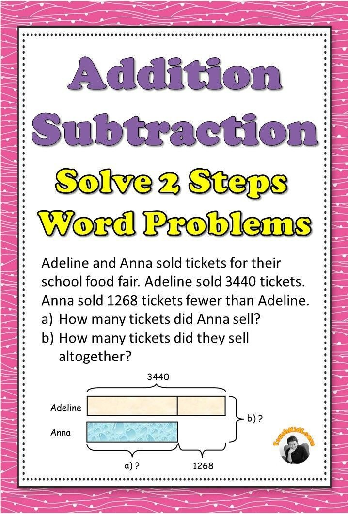 Addition And Subtraction Worksheets Rd Grade Solve  Steps Word