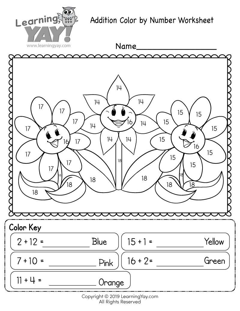 Addition Color By Number Worksheets Worksheet Hero