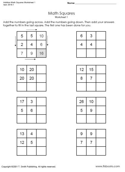 Addition Math Squares Worksheets  And