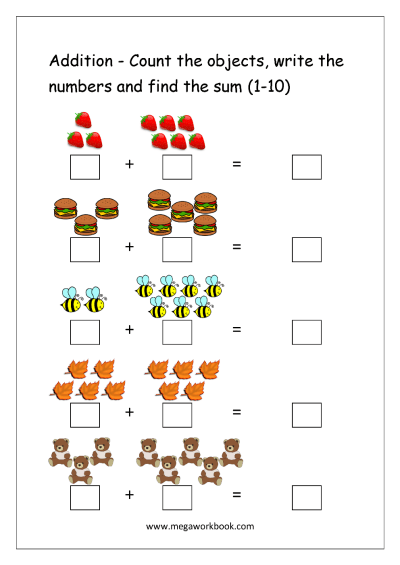 Addition Objects Worksheets Free