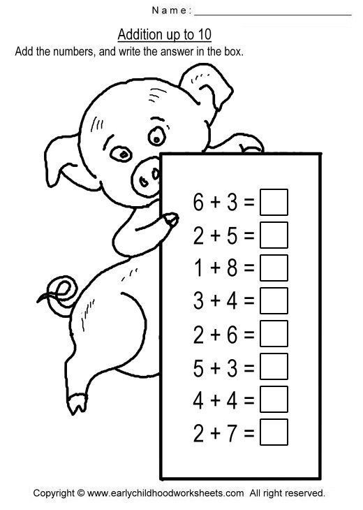 Addition Up To  Worksheets