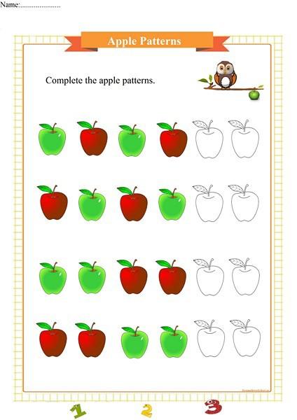 Apple Pattern Worksheet For Preschool