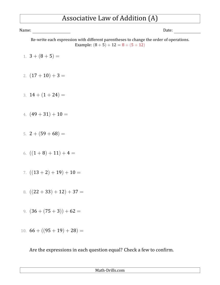 Associative Law Of Addition Whole Numbers Only A