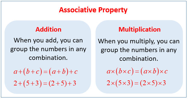 Associative Property For Addition And Multiplication Examples