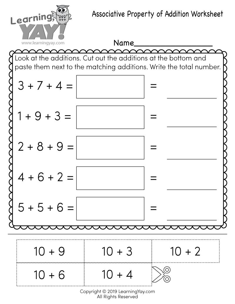 Associative Property Of Addition Free St Grade Worksheet