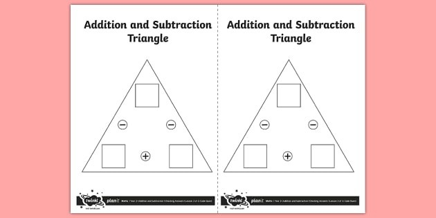 Blank Addition And Subtraction Triangle Worksheet  Worksheet