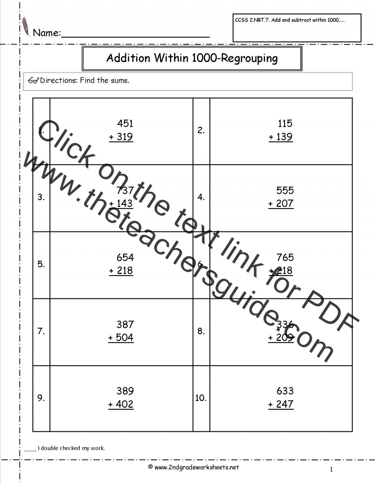 Ccss Nbt Worksheets  Addition And Subtraction Within
