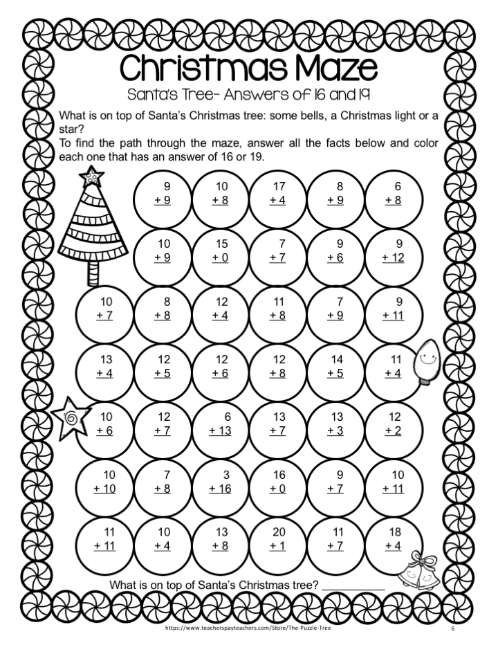 Christmas Addition Activities And Games Christmas Worksheets